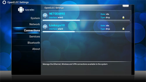 OpenELEC network connections