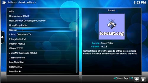 OpenELEC / Kodi main screen