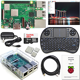Raspberry Pi Kit with keyboard and clear case